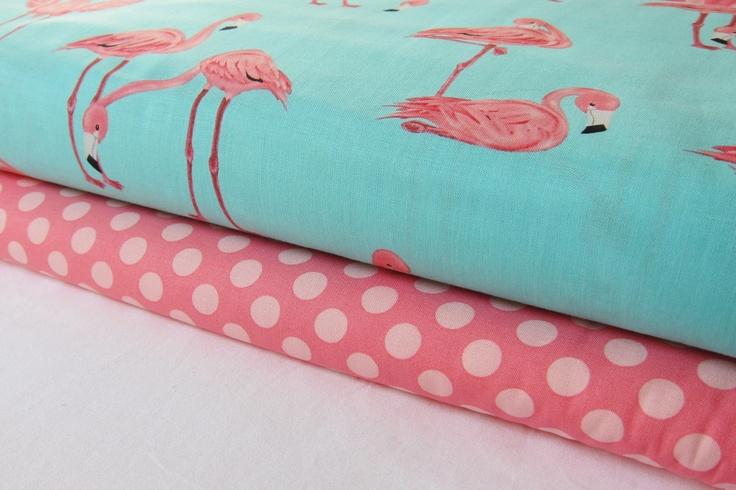 Flamingos Fabric on Aqua - Ta Dot in Petal - Yard Bundle - Michael Miller. $18.00, via Etsy.