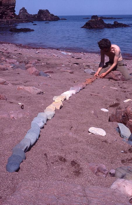 -Andy Goldsworthy- Line to follow colour in stones St. Abbs, Scotland 31 May 1985
