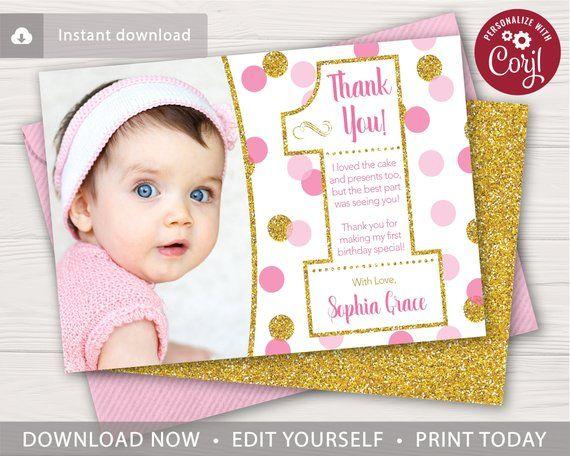 Pink And Gold Confetti 1st Birthday Thank You Card With Photo Etsy Birthday Thank You Cards Gold First Birthday First Birthday Invitations