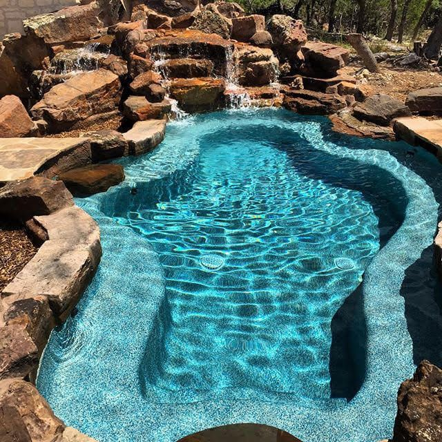 Freeform New Braunfels Contemporary Spring Branch San Antonio Spool With Moss Rock Waterfall Custom Pools Backyard Spa Pool