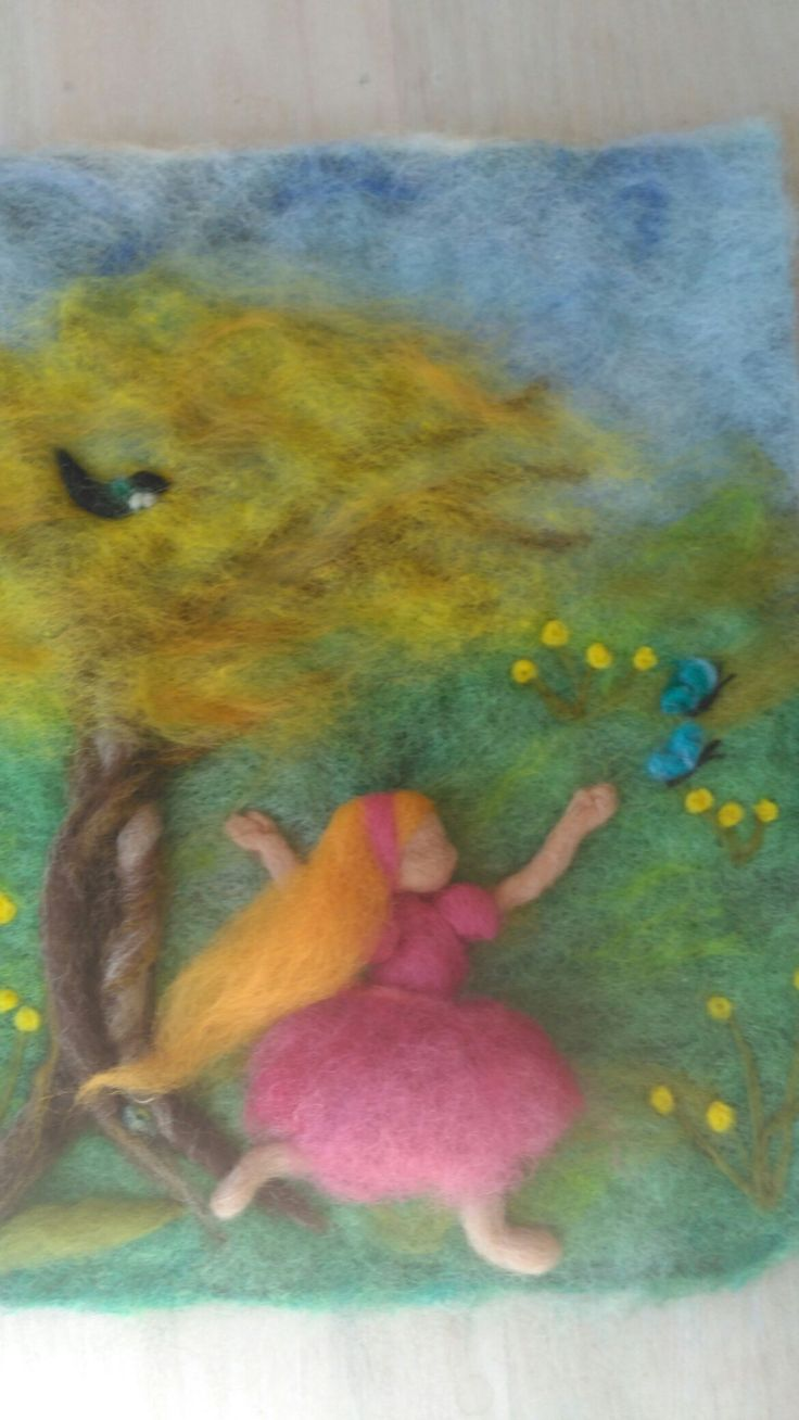 Needle felted spring