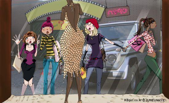 shopping, showwindow, girls,femail, illust by Eunhye