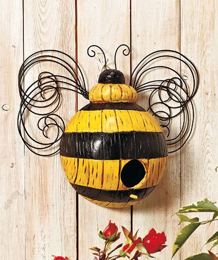 Wooden Whimsical Insect Birdhouses Bring A Fun Colorful Look To Your Yard Or Garden Metal Scrollwork Wings And Antennae Add The Charm Of Birdhouse
