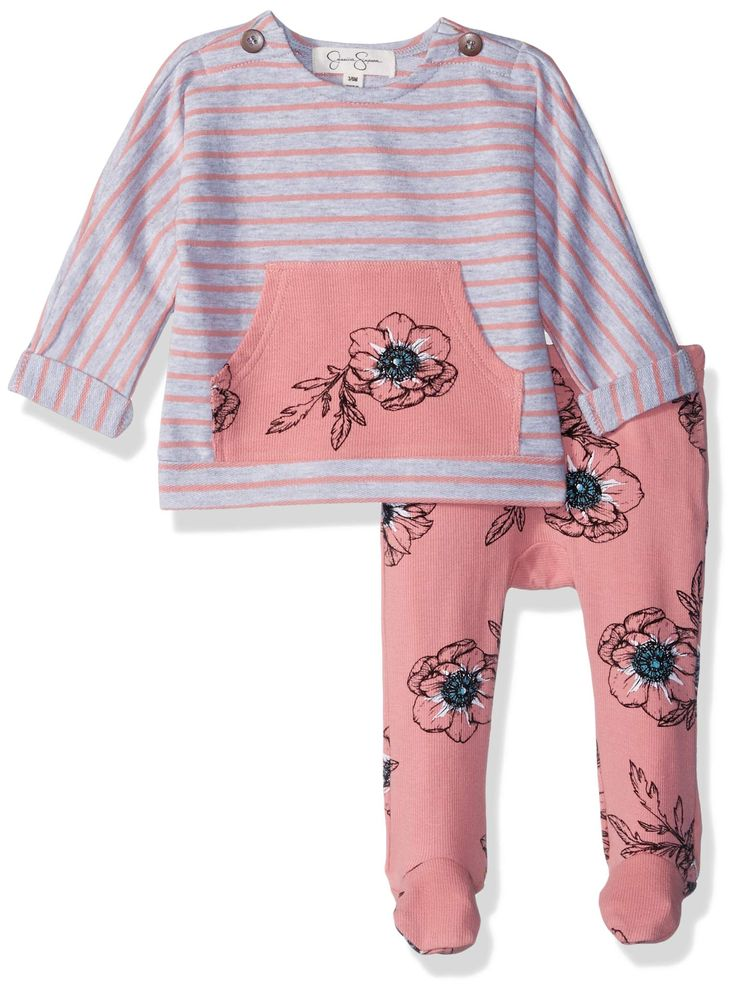 jessica simpson baby girls french terry top and footie