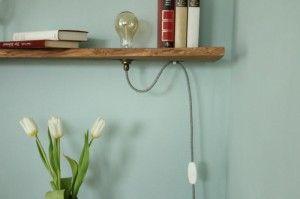 Vintage lampe - Holzregal - regal selber bauen- Vintage Glühbirne - Lampe anschließen-5