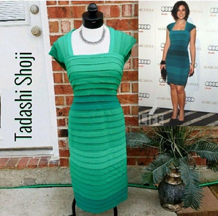 Tadashi Shoji Green Emerald Bandage Bodycon Dress Size M 6 8 Retail $328! #TadashiShoji #StretchBodycon