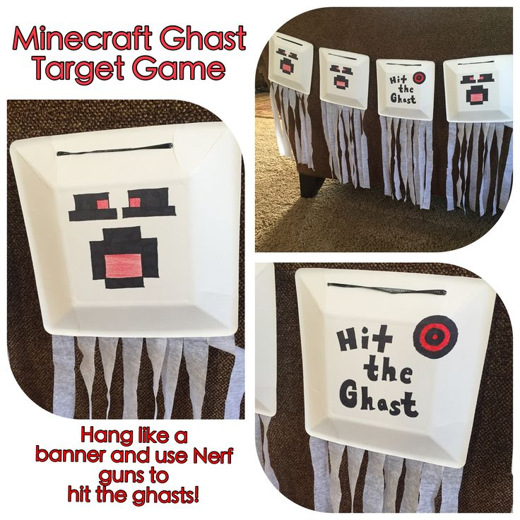 Minecraft Birthday Party - Games - Hit the Ghast!  Use, square paper plates, black sharpie, red sharpie, white streamers and black curling ribbon to make ghasts. Hang like a banner where kids can use their Nerf guns to see how many times they hit them. Hang outside to make it more challenging