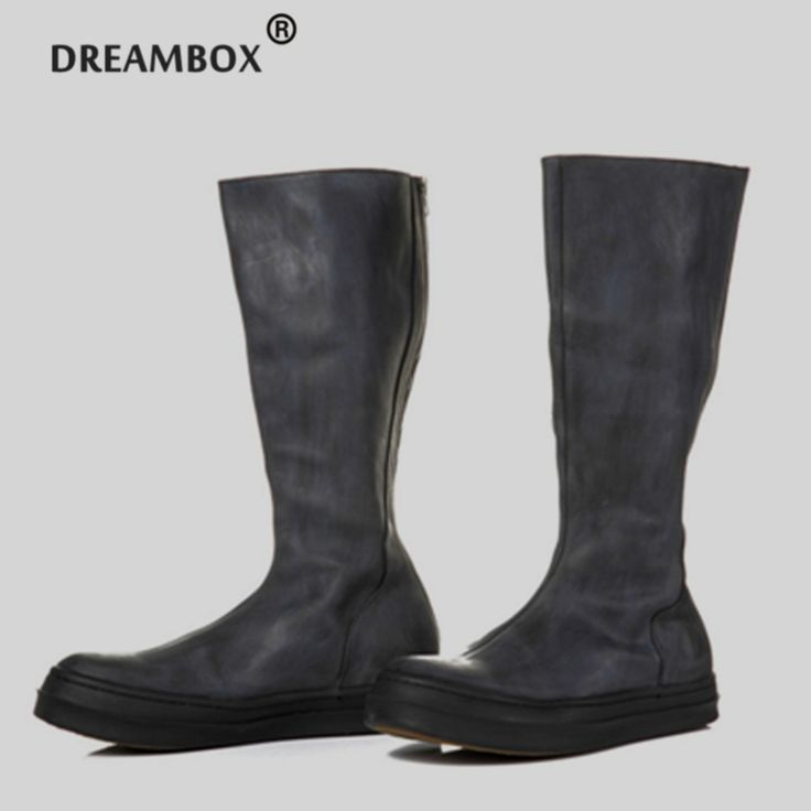 154.56$  Watch now - http://ail5j.worlditems.win/all/product.php?id=32801552314 - Top Quality Cow Leather Knee-High Retro Men's Leather Boots Causal Personalized High Motorcycle Handmade Full Leather Boots