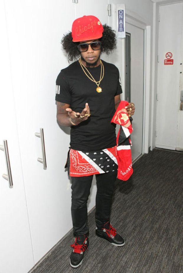 "Trinidad Jame$ in the Air Jordan 4 ""Black Laser"" (photo by Bennet"