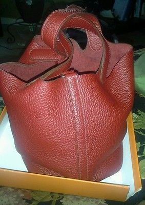 Hermes Taurillon Leather Picotin PM Handbag Red Silver Hardware ...