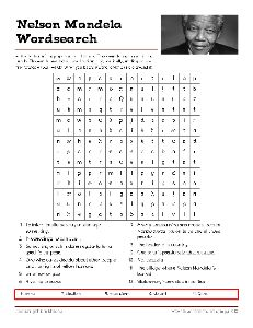 Free Nelson Mandela Vocabulary Worksheets and Puzzles, #Wordsearch, #Education #Homeschool #Mandela #Freebies  #SouthAfrica