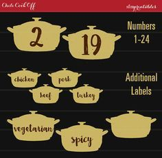 Instant Download! Chili Cook Off Entry Numbers Labels / Invitation Printable DIY Chili Bundle / Hot Pepper and Chili Pot Theme / Fall Party by sfmprintables