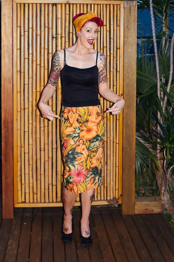 Gorgeous lady wearing a pinup print high waisted pencil skirt I made her. www.ellyprizeman.com