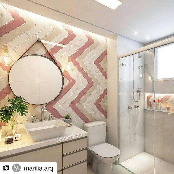 """2,443 Likes, 53 Comments - Cerâmica Portinari (@ceramicaportinari) on Instagram: """"O banheiro é um espaço com grande potencial decorativo. Neste projeto da arquiteta Marília…"""""""