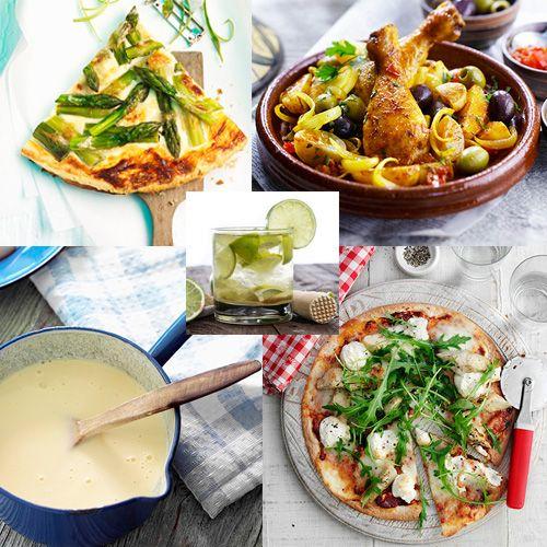 Idées recettes faciles et ensoleillées : tarte fine aux asperges, pizza au chèvre, tajine de poulet aux olives et citrons confits, crème anglaise & caïpirinha... http://www.bistrot.fr