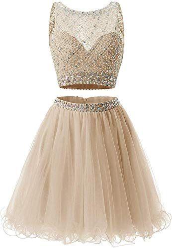 Comprar Vestidos curtos para o baile de finalistas Juniors Two Piece Prom Dress Curto A linha Tulle frisada lantejoulas Vestidos de festa Crianças online   – Girls Clothing