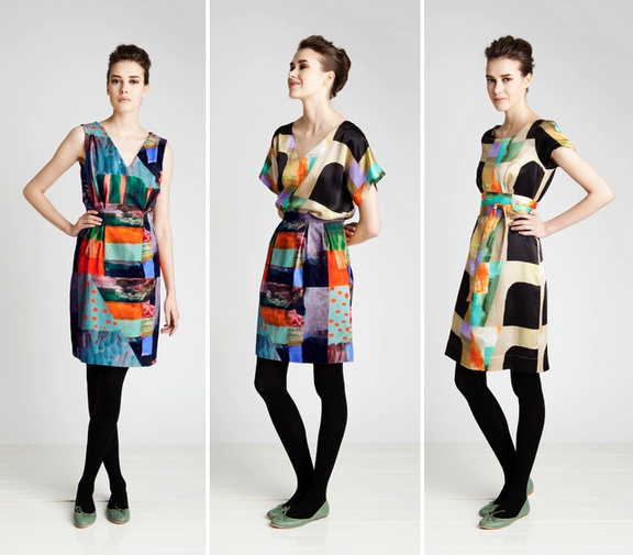 i like the dress on the far right the most - especially with the black tights and green flats
