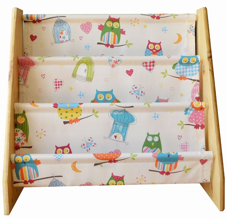 Childrens Wooden Book Sling Bookcase With Owl Print Fabric Wooden Books Owl Print And Owl