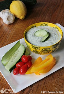 5-Ingredient Tzatziki Dip ~ Serve this tzatziki dip chilled with your favorite veggies for a snack or a fun party dip. It also adds flavor to your favorite wraps, sandwiches and salads. ~ from Produce for Kids