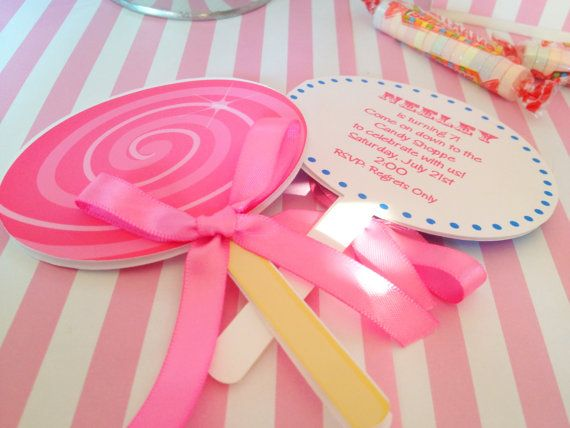 Candy shoppe party, candy land party, personalized and printed candy land lollipop invitations, sweet shoppe party