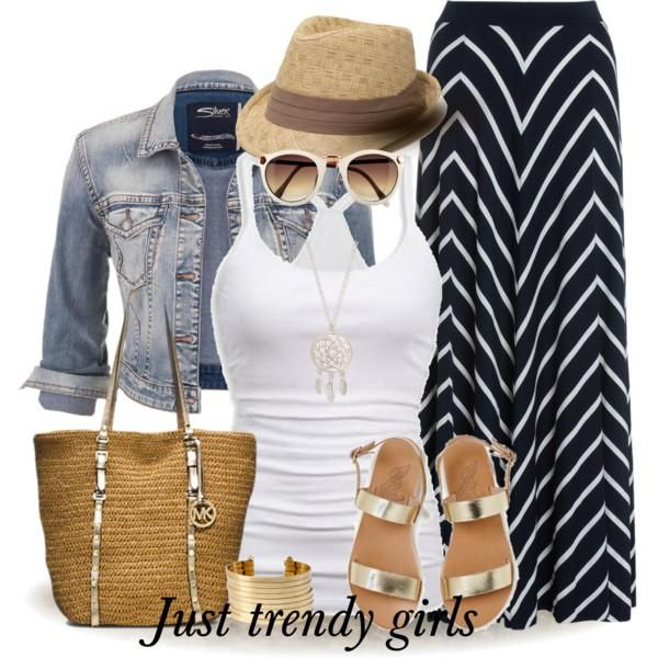 chevron maxi skirt Casual denim shirts with maxi skirts http://www.justtrendygirls.com/casual-denim-shirts-with-maxi-skirts/