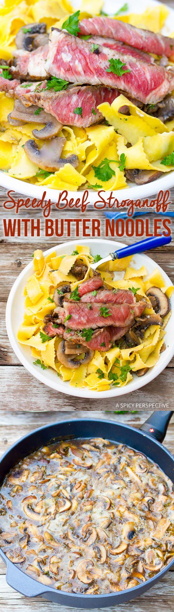 Try this Speedy and Easy Beef Stroganoff Recipe with Butter Noodles on ASpicyPerspective