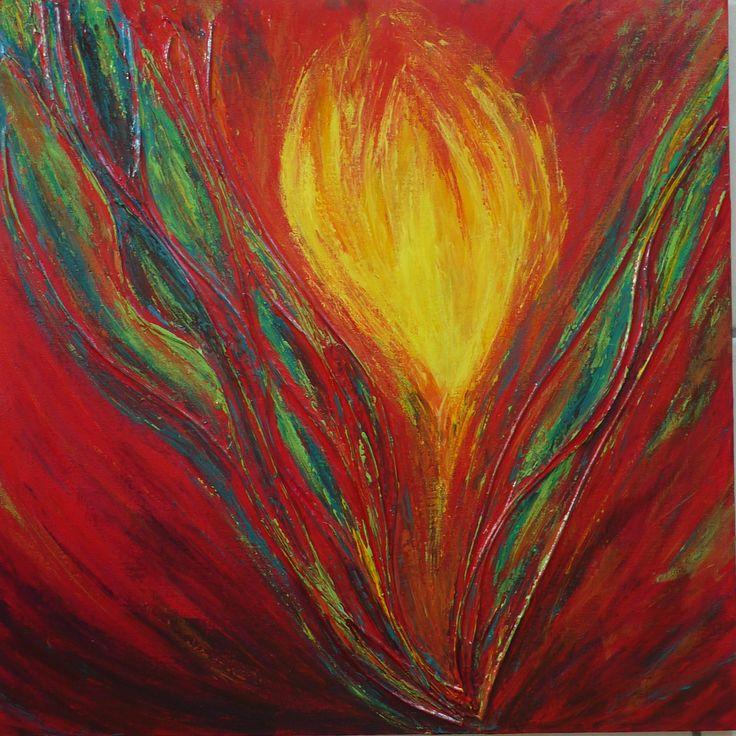 #tableau #acrylique #fleur #rouge #paint http://pigmentropie.fr