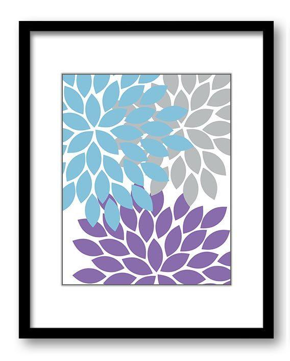 Flower Print Blue Purple Grey Wall Art Chrysanthemum Flowers Print Home Decor Wall Art Modern Minimalist Bathroom Bedroom