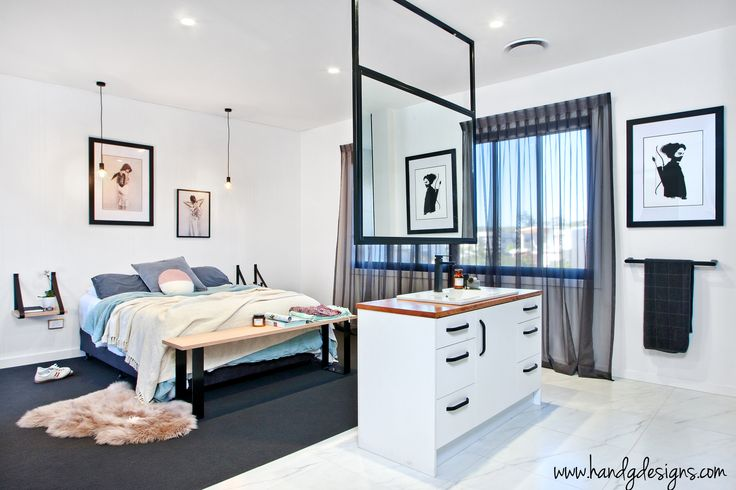 [ H & G Designs ]  Open plan bedroom and ensuite.   Leather strap bedside tables available www.handgdesigns.com   Designed and built by H&G Designs. Photo: Jason Smith   Prints: Vee Spears and Ruben Ireland