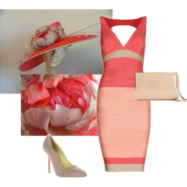 Coral Beige Taupe Nude Peach Kentucky Derby 2014 Outfit with Large Coral Hat