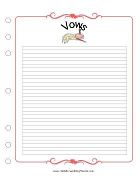 Use this Wedding Planner Vows form to write and save your wedding vows. Free to download and print