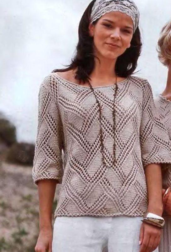 Jersey calado punto dos agujas en agujas 3,5mm patrón gratis.: