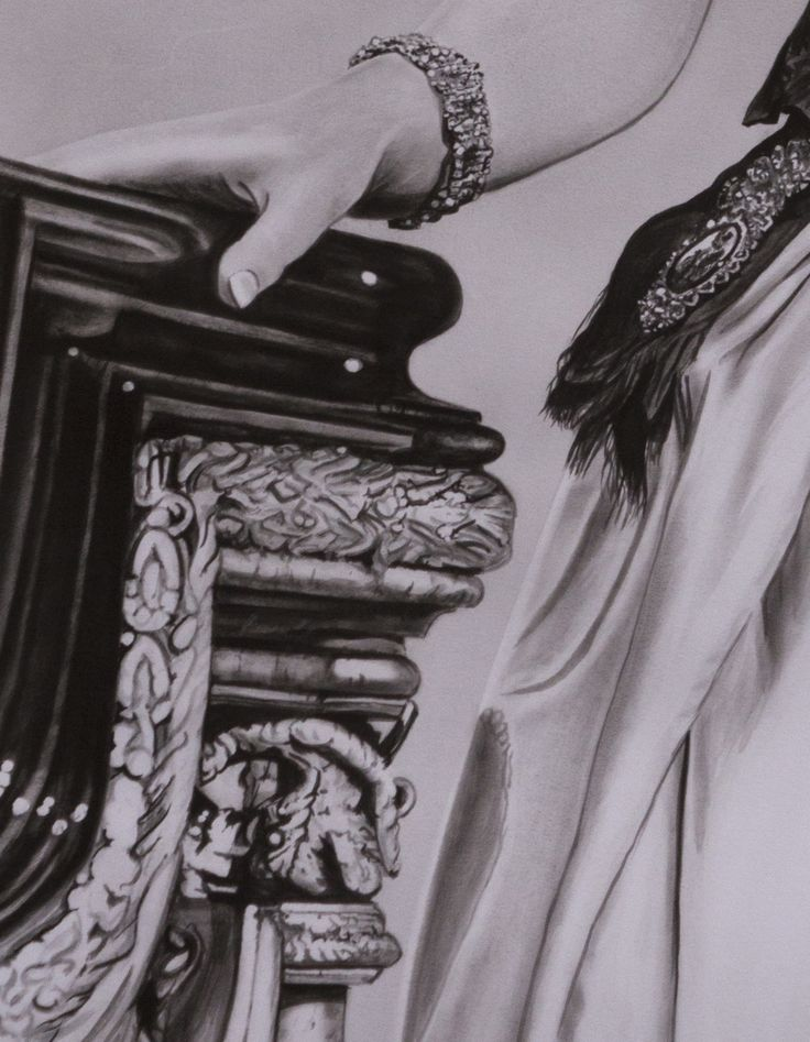 "Original painting ""HRH Queen Elizabeth II"" (detail) by Rudy M Vandecappelle - dry brush - oil on paper. For commissions of any portraits (people, wedding, animals), please visit my website."