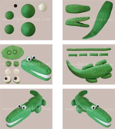Une explication pas à pas en image pour réaliser un crocodile en pâte à sucre. 3 couleurs sont nécessaires : vert, blanc et noir. Vous pouvez trouver de la pâte à sucre ici.