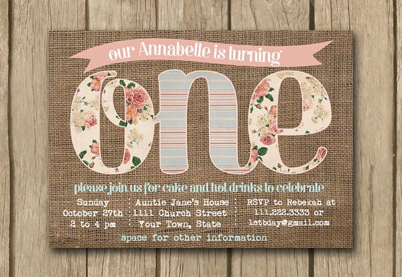 1st birthday invite; first birthday invite; baby girl invite; Shabby chic invite; Burlap invite by DulceGracePrintables on Etsy