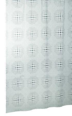 Vinyl Badewannenvorhang mit Ringen SFERA blickdicht grau mit Kreisen und Punkten Muster
