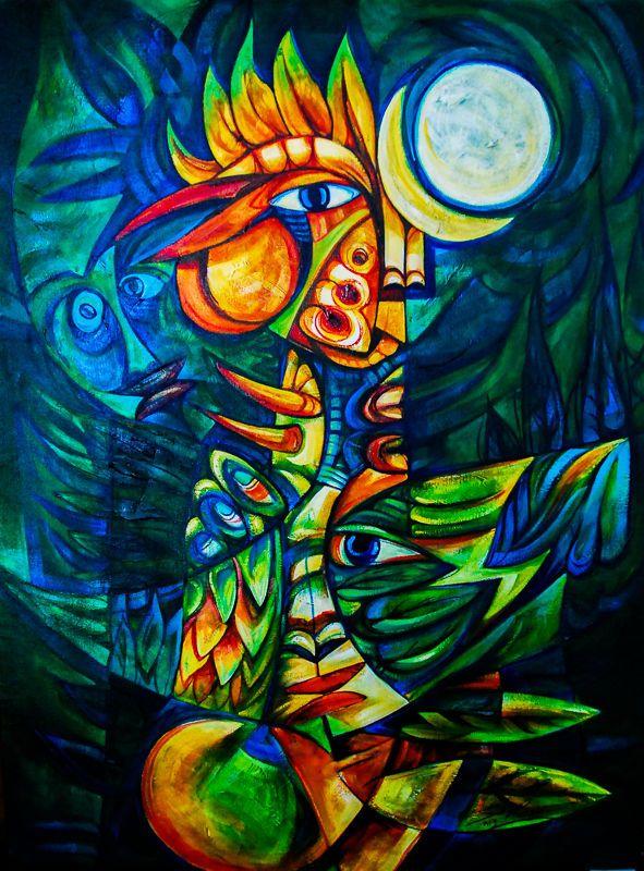 Ana GLADYS Falcon #5B Acrylic Cuban Painting on Canvas 27 ...  Cuban Art