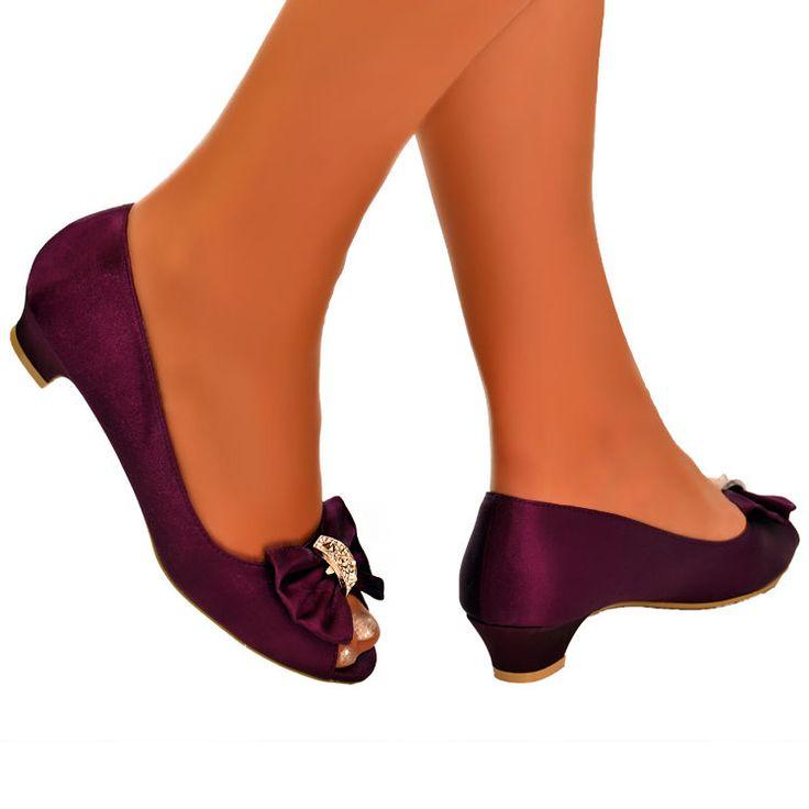 Ladies Purple Court Shoes Satin Open Peep Low block heel flat SANDALS Wedding