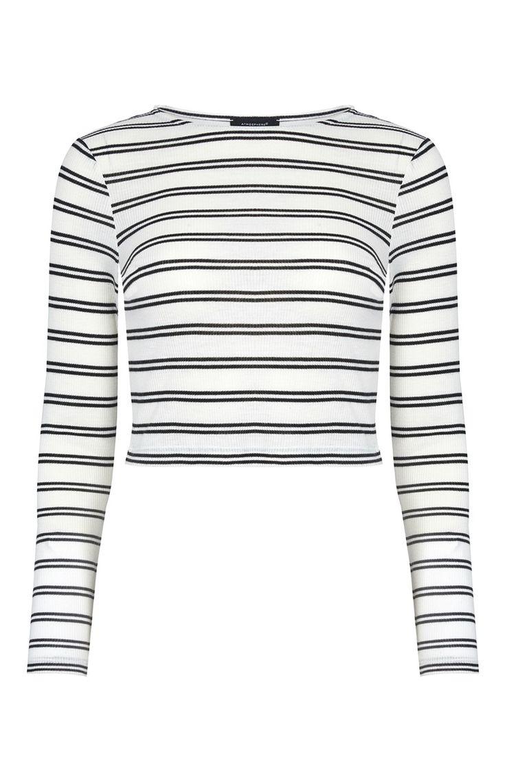 White Stripe Rib Crop Top