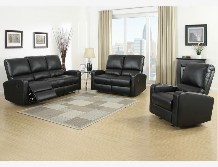 Black Leather Reclining Sofa Loveseat Glider Recliner Motion Living & 437 best Sofa Sets images on Pinterest | Living room sets ... islam-shia.org
