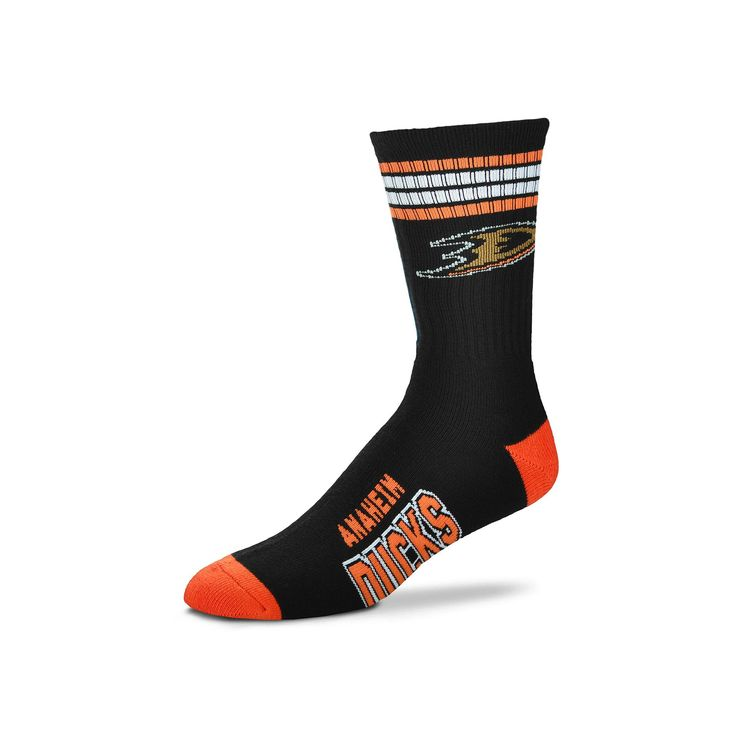 Adult For Bare Feet Anaheim Ducks Deuce Striped Crew Socks, Multicolor