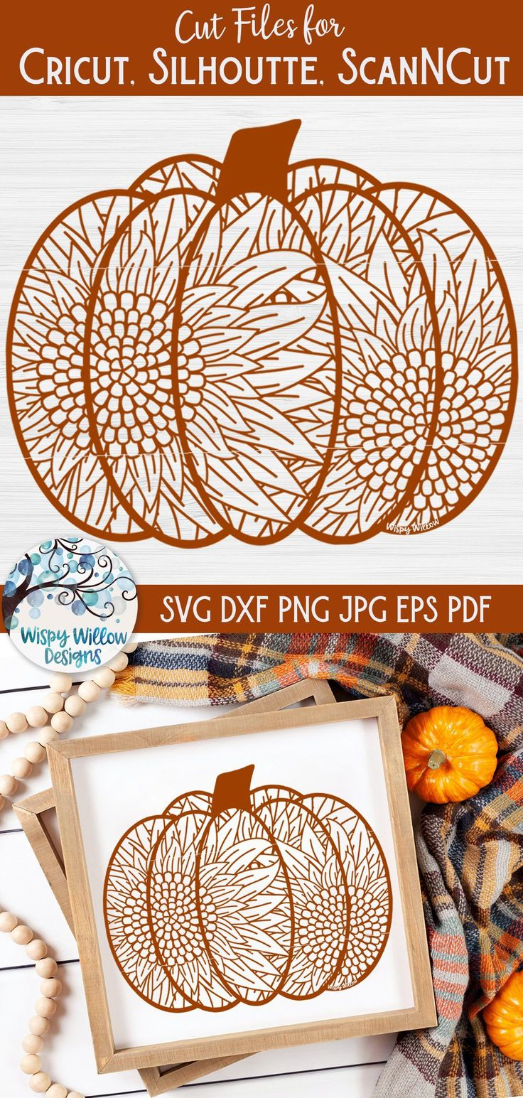 Sunflower Pumpkin Zentangle SVG Fall Pumpkin Mandala SVG