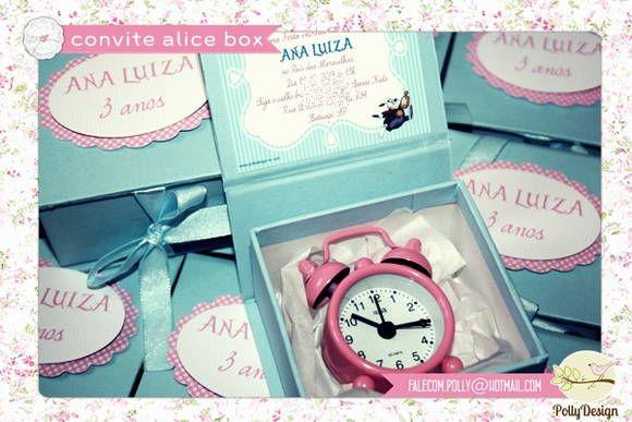 Convite Box Alice no País das Maravilhas | Polly Design | 309F8C - Elo7