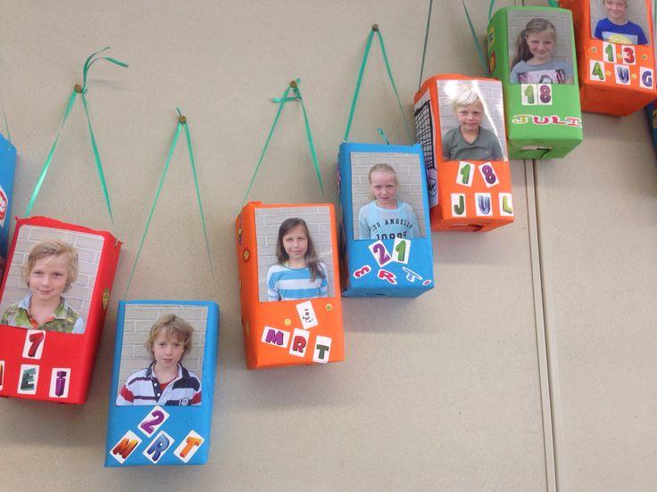 Verjaardagskalender voor de klas, leeg sappak gevuld met een cadeautje dat de kinderen (kosteloos) uit eigen speelgoed voor een ander kind meenemen (via lootje trekken). Op de verjaardag mag het dan uitgepakt worden!!!