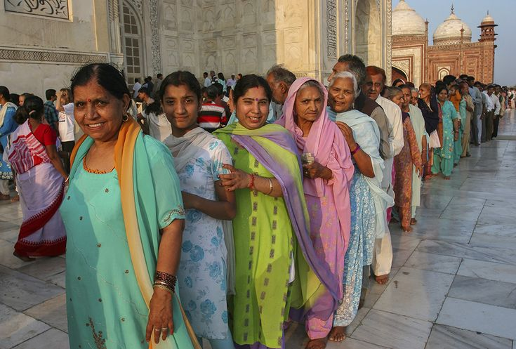 ladies in line for the Taj Mahal, Agra, India