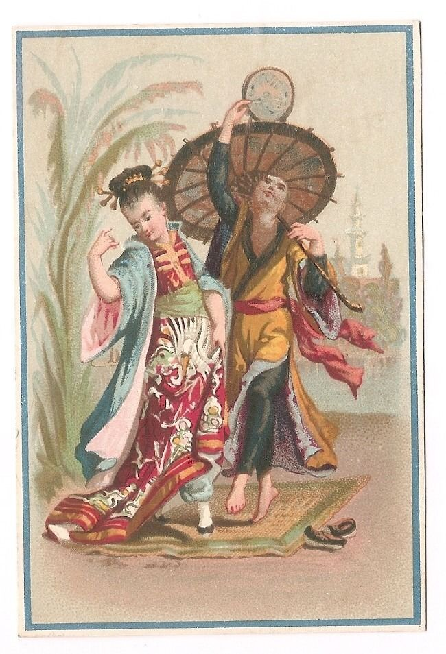 Danseurs Chinois - - Couple Danse Ombrelle - Chromo Lajeunesse Marx - Trade Card