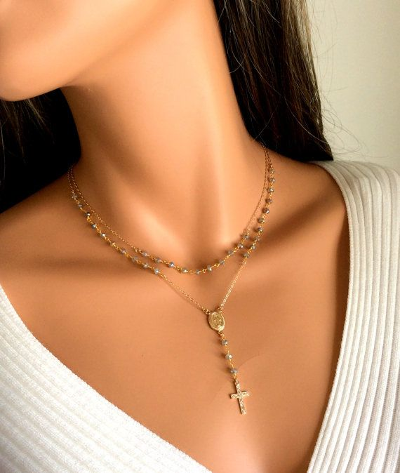 Rosary Necklaces Labradorite Gemstones 14kt Gold Filled or Sterling Silver by divinitycollection $98
