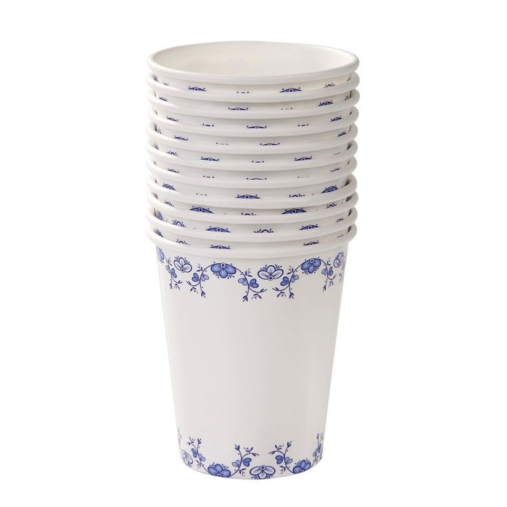 "12 pretty paper cups. Each with a blue & white porcelain-style design.  No need to use your best chinaware! Our Party Porcelain collection is perfect for posh parties!  12 x paper cups  Size: 250ml  3"" dia x 3 3/8""h"