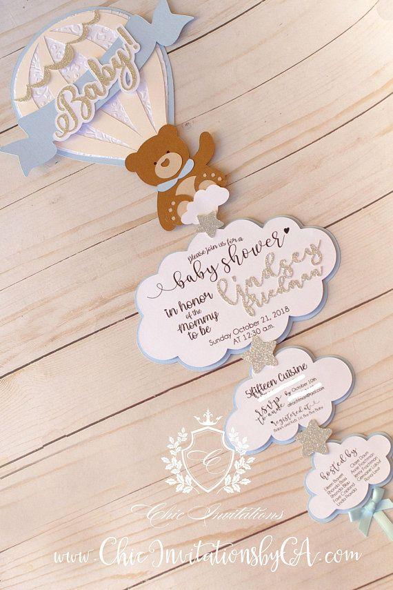 Baby Shower Invitation Bear Balloon Hot Air Invitation 3d Hand