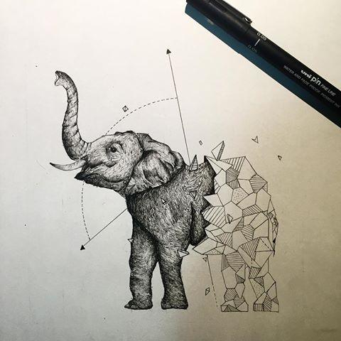 Резултат с изображение за geometric elephant